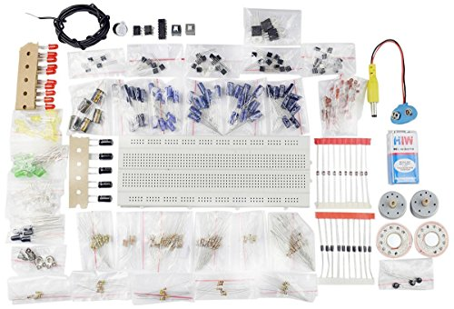 Electronic Components Project Kit or Breadboard, Capacitor, Resistor, LED, Switch (Comes in a box)
