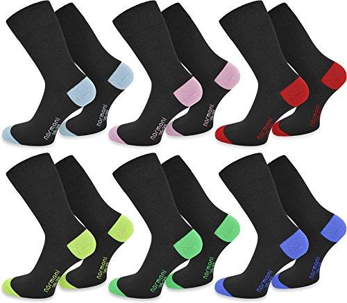 normani 6 Paar Socks - Socken mit farbig abgesetzten Fersen und Zehen aus Baumwolle mit Elasthan Farbe Hellblau/Hellrosa/Rot/Lime/Grün/Royal Größe 43/46 -