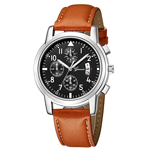 Armbanduhr jungen Liusdh Uhren Geneva Leaderband beobachten fluoreszierende Camping Outdoor Sportuhr(D,Einheitsgröße)