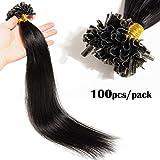 TESS Bonding Extensions Echthaar 1g 100 Strähnen Keratin U-Tip günstig Haarverlängerung 7A Remy Human Hair Extensions 100g-50cm(#1 Schwarz)
