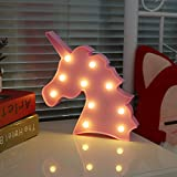 Vimlits Cute Unicorn Head Led Night Light Animal Shape Marquee LED Lamps on Wall for Kids Children Gift Indoor Lighting Party Wedding Room Decor-Pink