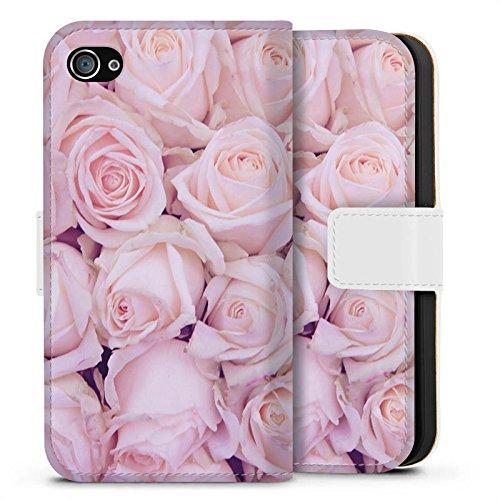 Apple iPhone X Silikon Hülle Case Schutzhülle Rosen Blumen Liebe Sideflip Tasche weiß
