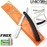 Rasoir professionnel - rasage traditionnel en acier inoxydable - lame de couteau interchangeable et verrouillage de sécurité, couleur noire + Pack gratuit de lame de rasoir