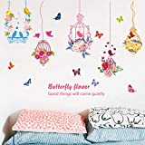 Tattoo An Der Wand Cartoon Blume Schmetterling Mädchen Feder Vogelkäfig Wandaufkleber Wohnzimmer Schlafzimmer Kinderzimmer Hintergrund Wanddekoration Aufkleber