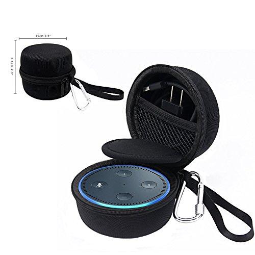 Echo Dot Hülle, Schwarz mit Zusätzliche Schutzbarriere Freiluftsportarten Schutzhülle für Echo Dot 2. Generation (Cube Carry Case)