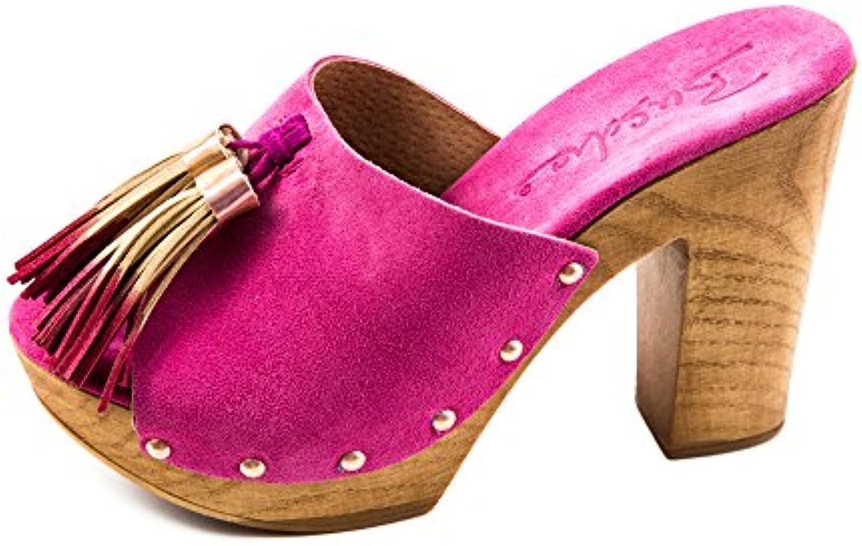 Busche Damen Holz Clogs Pink Rose Gold