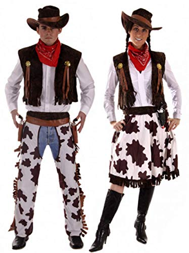 Paar Herren & Damen Cowboy & Cowgirl Woody & Jessie Wilder Westen West Kostüm Verkleidung Outfit - Braun, Ladies UK 16-20 & Mens XL (Für Damen West Wild Outfits)