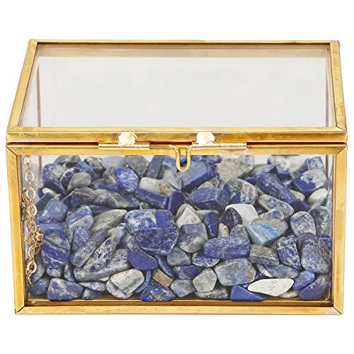 rockcloud Healing Crystal Terrarium Container Desktop Pflanzgefäß für Sukkulenten Luftpflanzen Halter Fee Garten Home Decor Blue (Lapis Lazuli) - Karte Glas-steinen