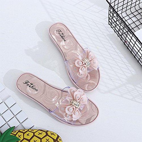 Longra Donna Pattini antisdrucciolevoli del grande fiore di spiaggia Rosa