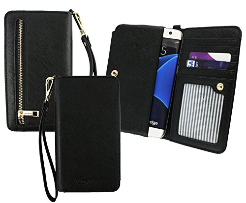 Emartbuy® Schwarz PU Leder Kupplung Geldbörse Hülle Tasche Sleeve (Größe 3XL) Mit Münzfach, Kartensteckplätze und Abnehmbare Handschlaufe Geeignet Für Slok C3 Dual SIM Smartphone