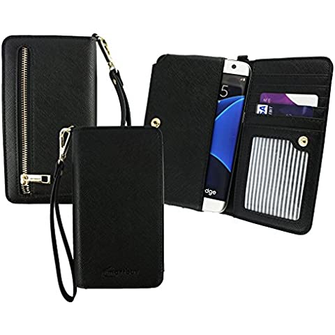 Emartbuy® Negro Cuero PU Embrague Bolso Bolsa Manga Carcasa Case ( Talla 3XL ) Con Acuñar Bolsillo, Tarjeta Las Ranuras y Desmontable Muñeca Correa apto para MyWigo Magnum 2 Smartphone 5 Inch