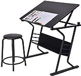 Display4top Schreibtisch mit Zeichenfunktion Zeichentisch Bürotisch Atelier Kunsttisch Arbeitstisch belastbar inkl. und Hocker