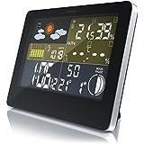 CSL - Funkwetterstation mit LCD Farbdisplay | Wetterstation inkl. Außensensor | DCF-Empfangssignal | Innen- und Außentemperatur / Wettervorhersage-Piktogramm / Tendenzanzeige uvm. | IP34 (Außensensor)