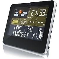 CSL - Funk Wetterstation mit Farbdisplay | inkl. Außensensor | DCF Empfangssignal/Funkuhr | Innen- und Außentemperatur/Wettervorhersage-Piktogramm UVM. | LCD-Display