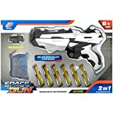 Vivir 2 In 1 Space Gun Toys For Kids With 6 Foam Bullet And 800 Water Bullets With Infrared Light For Accuracy (White)