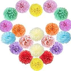 20 piezas Pompones boda. Incluye los siguientes colores: crema, amarillo, naranja, rosa, azul de cielo, melocotón, menta, roja, rosa claro, lila .