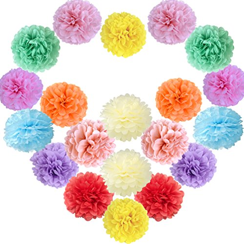 Sunbeauty 20 Piezas Pom Poms Bola de Papel Decoraciones de Baby Shower Boda Fiesta Santa Semana (Mixto de Color Claro)