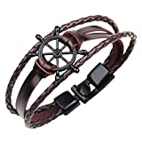 #10: The Jewelbox Boy's Non-Precious Wheel Anchor Metal Leather Multi-Layer Wrist Band Strand Bracelet (B1900WWSTII-DA-I, Brown)