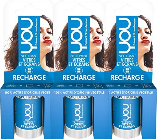 YOU - Recharge pour Spray Nettoyant Vitres et Ecrans compatible LED LCD - Lot de 3 x 12ml