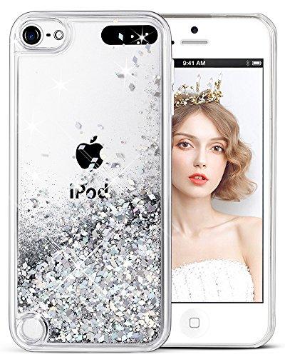 Handyhülle iPod Touch 6 Glitzer Hülle, iPod Touch 5 Hülle, wlooo iPod Touch 5/6 Glitzer Süße Flüssig Bewegende Treibsand Handyhülle Fließend Flüssigkeit Funkeln Glitter Quicksand Handyhülle Clear Transparent Silikon TPU - Den 5 Bling Für 3d-cases Ipod