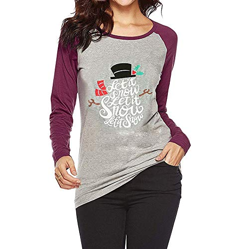 OverDose Damen Tuniken Pullover Festival Weihnachten Frauen Rentier Blusen T-Shirt Xmas Party Clubbing Schlank Langarmshirts(L-Schwarz,EU-34/CN-S)