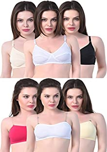 af6d35b3c2e58 Alazne Women s Full Coverage Seamless Tube Bra with Adjustable Transparent  Straps (Pack of ...