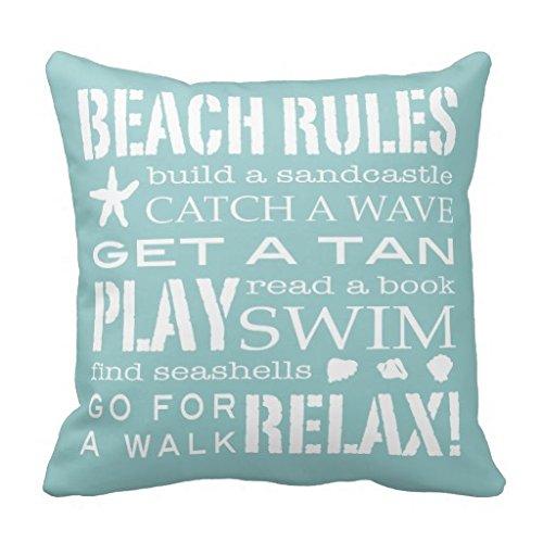 Beach Rules by the Seashore dekorativer weicher Aqua weiß Überwurf-Kissenbezug Fall 45,7x 45,7cm Accent Kissen Kissenbezug