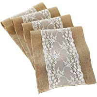 """Deggodech Natural Rustic Burlap Hessian Table Runner Vintage Jute with White Lace for Wedding Festival Outdoor Party Table Decorations 12""""x108""""(30x275cm) (Khaki, 1)"""