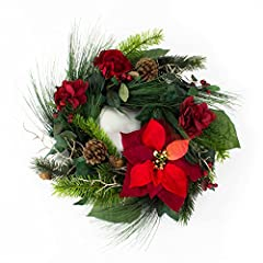 Idea Regalo - Corona d'abete finta con stella di natale, rosa, ortensie, bacche, pigne, rosso, Ø 50 cm - Ghirlanda fiorita / Decorazione natalizia - artplants