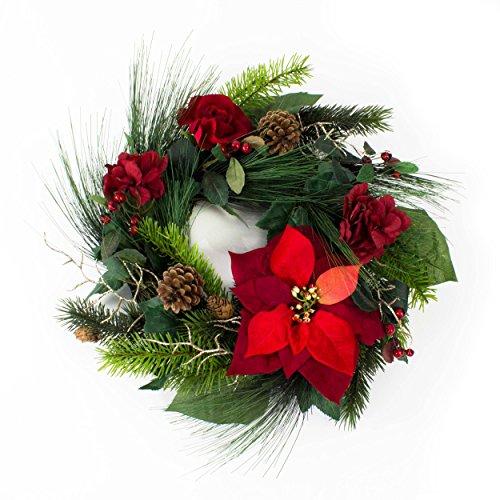 Corona d'abete finta con stella di natale, rosa, ortensie, bacche, pigne, rosso, Ø 50 cm - ghirlanda fiorita / decorazione natalizia - artplants