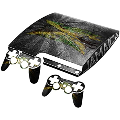 Bandera rasgada Collection 2, personalizado consola PS3 Fat Slim Full Body Wrap Faceplates Decal Vinyl piel adhesivo pegatina skin protector Drapeau Déchiré Jamaïque PS3 Slim