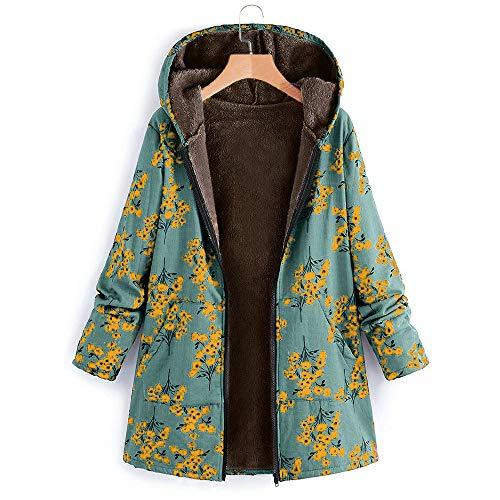 ZHANSANFM Frauen Langarm Baumwolljacke Blumendruck Trenchcoat Plus Größe Damen Mit Kapuze Baumwolle Leinen Flauschigen Pelz Reißverschluss Jacke Outwear Mäntel Übergangsjacke (S, Grün) -