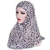 iKulilky Frauen Chiffon Muslim Hijab Kopfkappe Elegante Weicher Einfarbig Islam Turban Kopftuch Schal