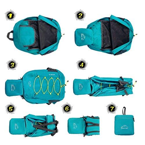 Kukome (TM) Borsa ultraleggera impermeabile unisex richiudibile, zaino per sport all'aperto, viaggio, arrampicata, escursionismo, ciclismo, Blue (blu) - B68N30-013-Q01 Black