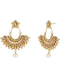 Zaveri Pearls Drop Earrings for Women (Golden)(ZPFK7162)