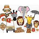 PARTY PROPZ JUNGLE THEME PHOTOBOOTH PROP 16 PC/ JUNGLE THEME DECORATION/ JUNGLE PARTY SUPPLIES/ JUNGLE BIRTHDAY PARTY