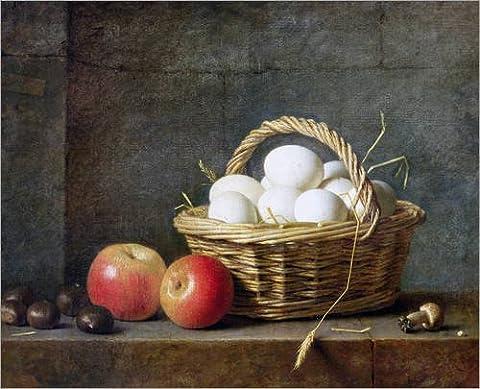 Wood print 120 x 100 cm: The Basket of Eggs by Henri Roland de la Porte / Bridgeman Images