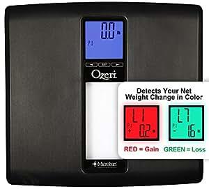 Bilancia digitale da bagno Ozeri WeightMaster II (200 kg) con calcolo IMC e rilevamento delle variazioni di peso (nera)