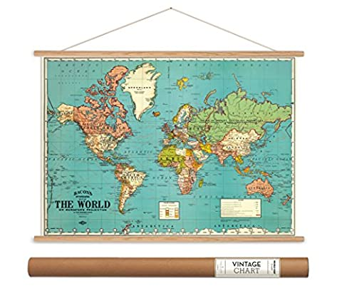 Cavallini Papers Bacon's World Map Vintage Style Decorative Poster & Hanger Kit, 28