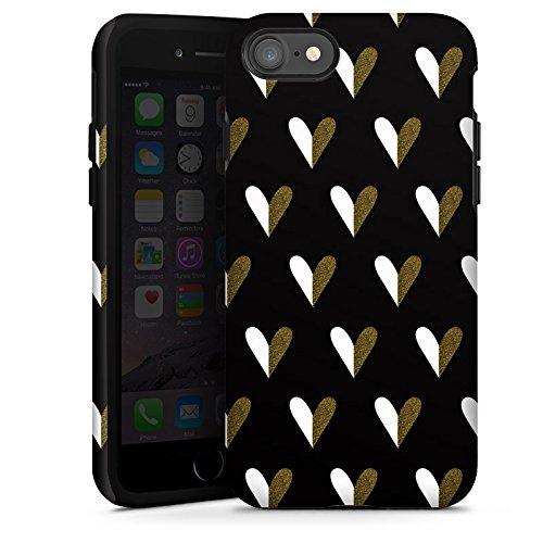 Apple iPhone X Silikon Hülle Case Schutzhülle Herzen Gold Muster Tough Case glänzend
