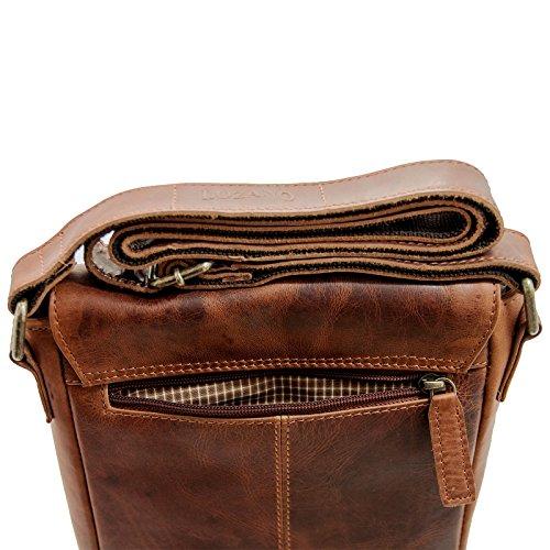 Herren Damen Tasche Schultertasche Business Umhängetasche Henkel CrossOver Messenger Bag (Braun) Dunkel Braun