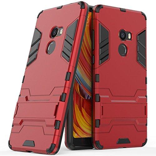 Funda para Xiaomi Mi Mix 2 (5,99 Pulgadas) 2 en 1 Híbrida Rugged Armor Case Choque Absorción Protección Dual Layer Bumper Carcasa con pata de Cabra (Rojo)