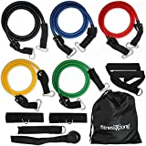 Resistance Bands Set fitnessXzone® | Exercise Bands | Home Gym Fitness Equipment | Workout Bands | Exercise Equipment for Pilates Yoga Core Training | 100% Natural Latex Tubes