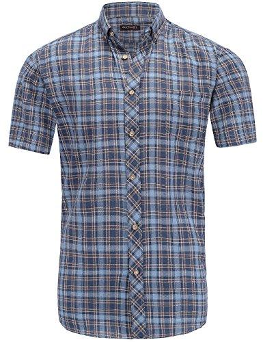 JEETOO Herren Hemden Frühling Slim Fit Karohemd Kariertes Freizeithemd Trachten Figurbetontes Baumwolle Businesshemd Bügelleicht (Small, Blau) (Bilder Von Trachten)