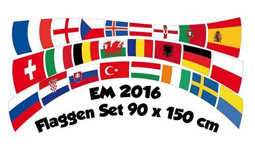 Flaggenset EM Frankreich Fußball 2016 Flagge Fahne 90 x 150 cm