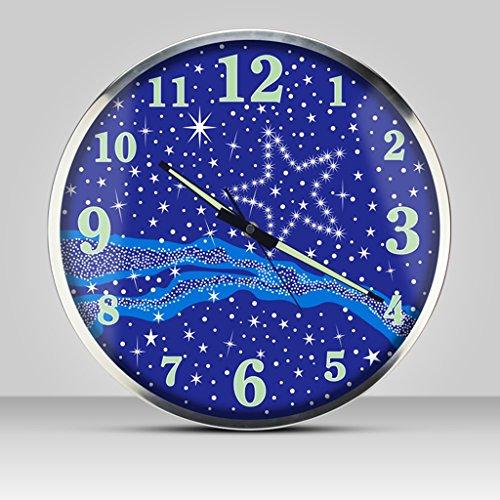 Blu viola luminoso metallico orologio da parete orologi il giro moderno adatto per soggiorno e camera da letto e casa e cucina muto silenzioso grande dimensioni 35cm (14 pollici) ( color : blue )