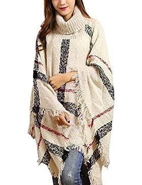 Jersey Cuello Alto Mujer Elegantes Primavera Anchas con Borlas Capa Invierno Fashion Otoño Suéter De Punto Vintage...