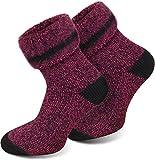 normani 3 Paar Original Polar Husky Socken/Skisocken mit Schafwolle/sehr warm/waschmaschienenfest Farbe Extrem/Hot/Pink meliert Größe 35/38