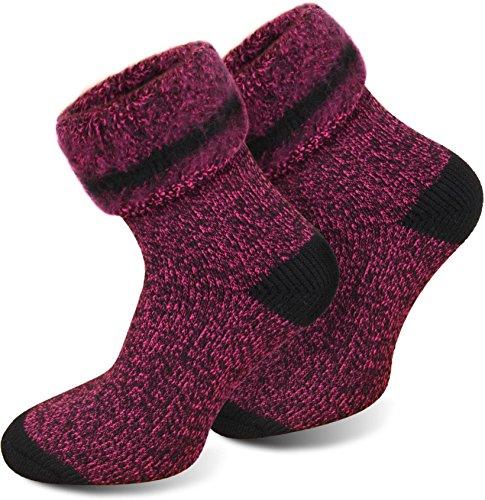 3 Paar Thermo-Kniestrümpfe oder Thermo-Socken von POLAR HUSKY® mit Vollplüsch und Schafwolle / Sehr warm! / Perfekt für Stiefel geeignet. / Nie wieder kalte Füße! Farbe Extrem/Hot/Pink meliert Größe 43/46 (Pink Overknees Hot)