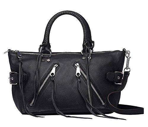 Xinmaoyuan borse Donna Donna spalla singolo croce obliqua Bag Zipper locomotiva capacità grande borsa in pelle in stile retrò borsetta,rosso Nero